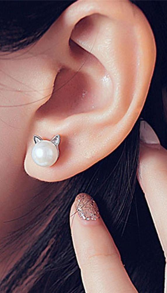 Classy Ear Piercing Ideas for Women Cartilage Helix Ear Lobe - Pearl Cat Kitty S...