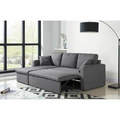ASPEN Canapé d'angle réversible convertible 4 places - Tissu gris chiné - Contemporain - L 223 x P 146 cm - Achat / Vente canapé - sofa - divan Structure : bois-Revêtement : tissu (microsuédine) - Cdiscount