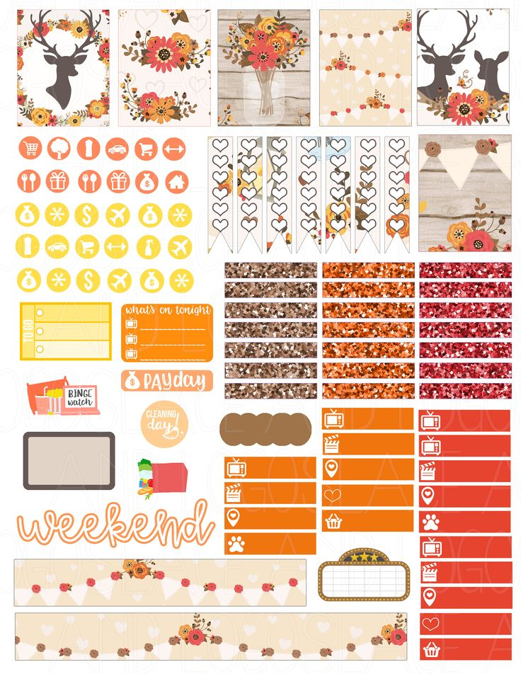 This is a set of printable stickers. The stickers are perfect for any planner like the Erin Condren Life Planner, Kikki K, MAMBI Happy Planner, Filofax, ETC. This will be available as a PDF file and a JPEG version for you to print out at home onto a blank self-adhesive shipping label to make your own stickers. Printable stickers means that you can download these files, buy some self-adhesive sticker paper (white or clear shipping labels or sticker paper) and print the stickers off as many tim...