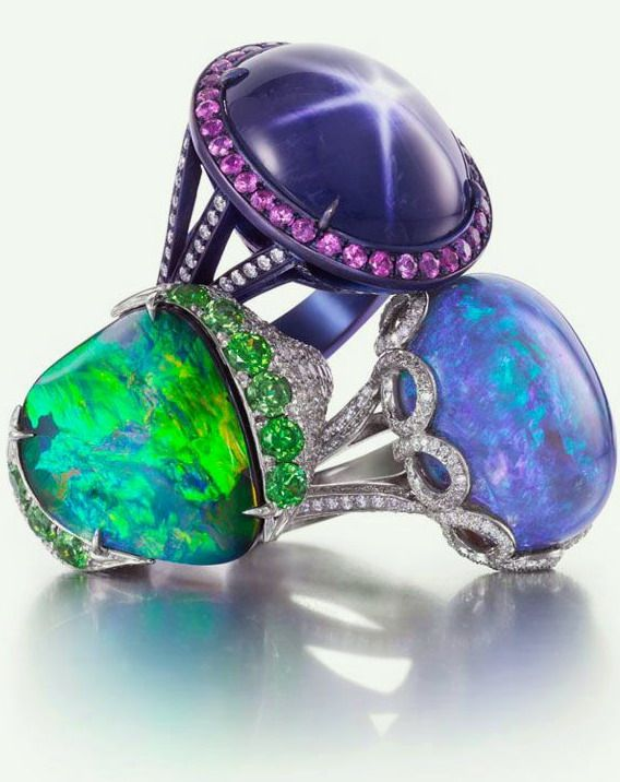 Boulder Opal, Black Opal  Purple Star Sapphire Rings Boulder Opal Diamond Pavé Demantoid Garnet