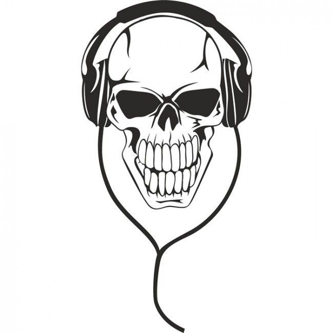 Skull Headphones Musicians & Band Logos Wall Stickers Music Decor Art Decals