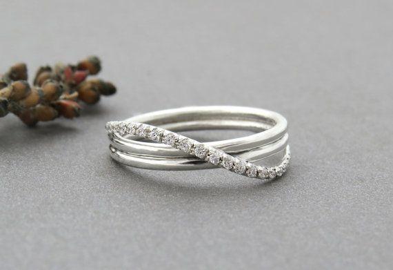 Unique Engagement Ring Unique Diamond Infinity Ring by SivanLotan