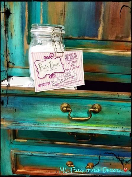 Here is a link to everything you need to know about using Pixie Dust!  Make everyday flat latex paint into an amazing chalk paint. Our paint powder is made of several minerals such as calcium, chalk, limestone, and clay. Our product is 100% natural and even edible! Pixie Dust is the only Chalk Paint Powder on the market that is a blend of chalk & clay providing from that ultra lux velvet finish! Pixie Dust Chalk & Clay Paint Powder was designed for the DIY'er! It's ...