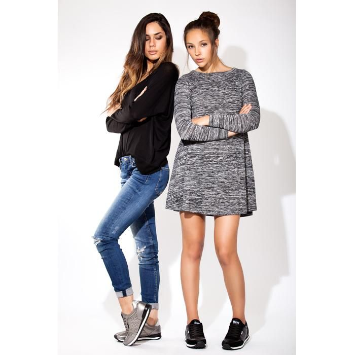 OUTFIT de la SEMANA LOOKS casual: vestido básico en gris /jeans con básica negra+JOGGINGS http://goo.gl/axHLJR