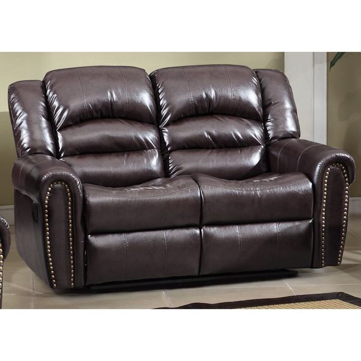 meridian chelsea dual reclining loveseat with nailhead detail brown loveseat bonded leather