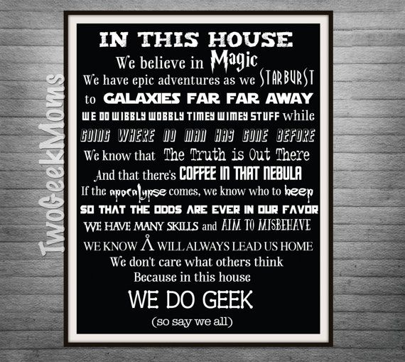 "We Do Geek - Geeky House - Multi-fandom - Nursery Art - Wall Art Print - 8x10"" 11x14"" 16x20"" 20x30"""