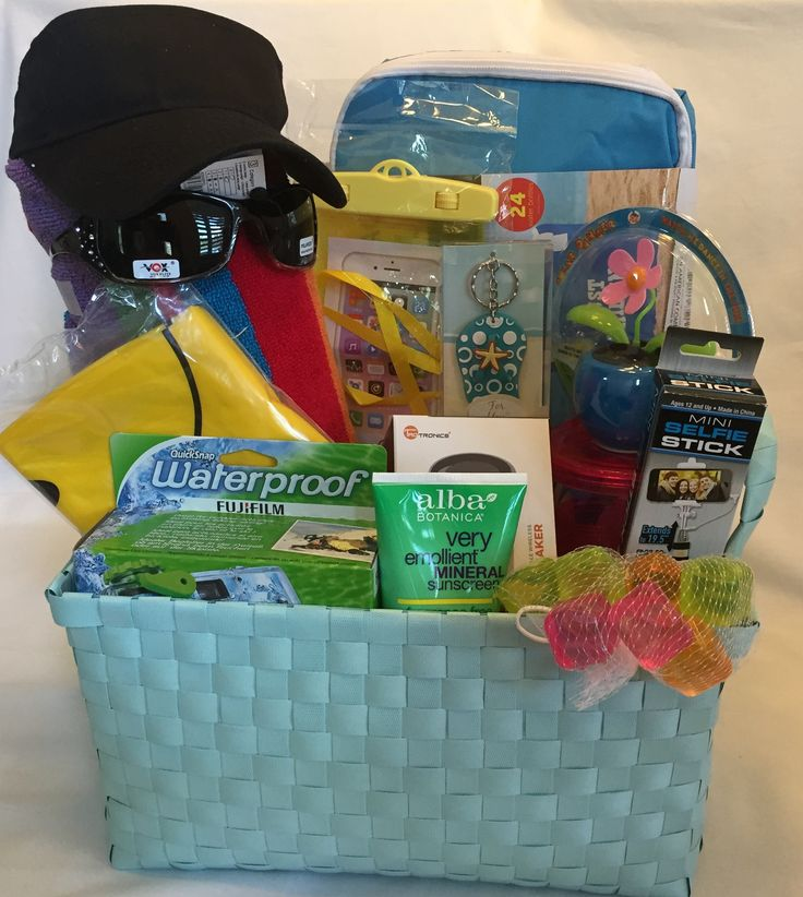 BEACH GIFT BASKET  This gift has memory-maker written all over it!  Grab this for yourself or a beach lover and head to the shore!  Don't forget to fill up the insulated cooler and grab some snacks!     Go to www.giftsbylulu.com/ to check out a description of each item included and your choices to make it personal!
