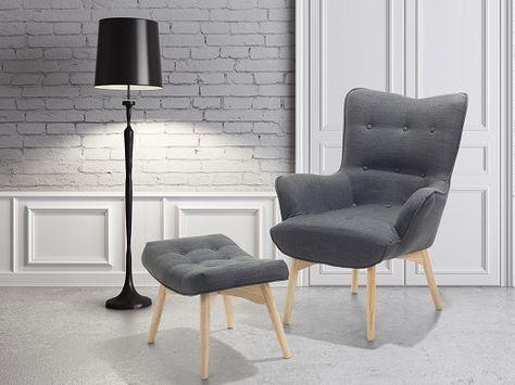 Sessel Dunkelgrau - Ohrensessel - Relaxsessel - Stuhl + Hocker - Polstersessel - VEJLE