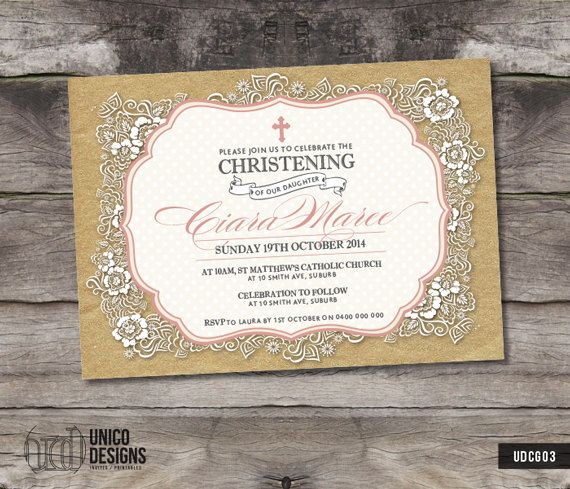 Pink & Gold Christening Invitation / by UnicoDesignsInvites