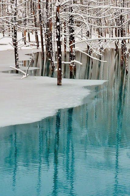 Blue Pond & Spring Snow, Hokkaido, Japan.