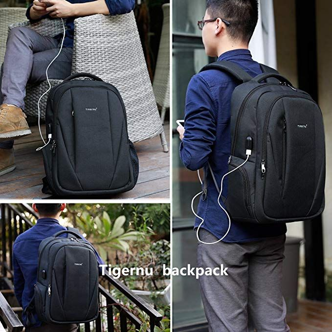373d21b44e67 Amazon.com  Tigernu Slim Business Laptop Backpack Anti Thief Water  Resistant with USB Charging Port College School Backpaks Fit 15.6 Inch  Macbook Computer ...