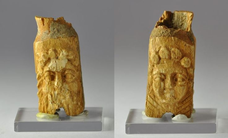 Roman cosmetic, perfume bone vessel with heads, 1st-4th century A.D. Roman bone pyxis with two heads, one of Zeus and the other of a female deity, 4.5 cm high. Private collection