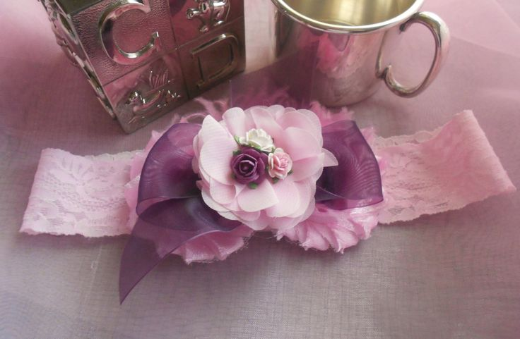 Pink and Purple - Chiffon/Organza Bow - Elastic Lace Headband - Girls 3 years and up - Flower Girl - Wedding - Shipping Included by MaPetiteDiva on Etsy