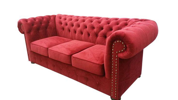Chesterfield Sofa Couch Polster Textil Stoff 3er Garnitur Designer Sofas Couchen