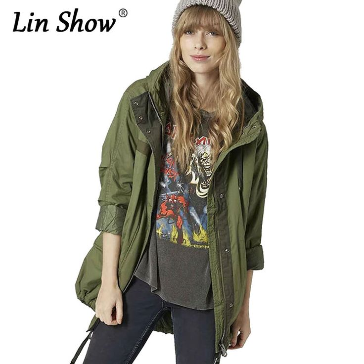 ==> [Free Shipping] Buy Best LINSHOW 2016 Winter Hooded Padded Women Long Jackets Quilted Cotton Pockets Coats Warm Casual Loose Army Green Ladies Jackets Online with LOWEST Price | 32775148562