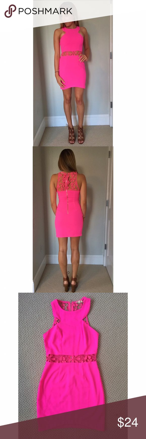 Neon Pink Cocktail Dress Bright neon pink bodycon dress with cut-out floral mid section. Worn once! Tea n Cup Dresses Mini