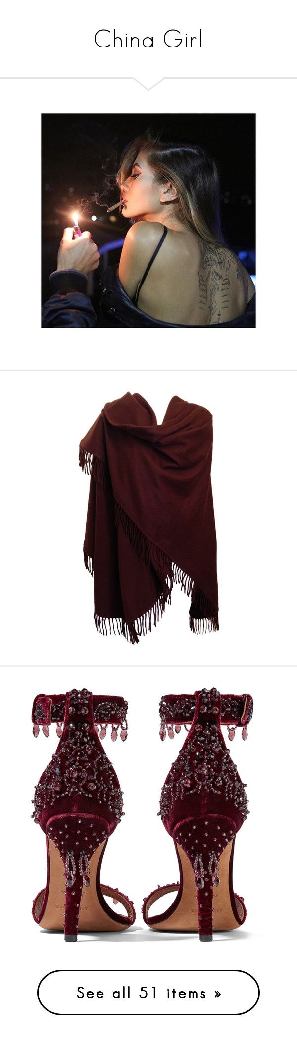 """China Girl"" by catty-girl ❤ liked on Polyvore featuring accessories, scarves, outerwear, jackets, cashmere scarves, cashmere shawl, shawl scarves, loro piana scarves, burgundy shawl and shoes"