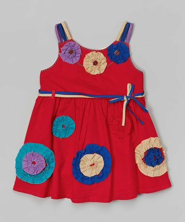 Look at this #zulilyfind! Cranberry Red Ruffle Rosette Sash Dress - Infant, Toddler & Girls by the Silly Sissy #zulilyfinds
