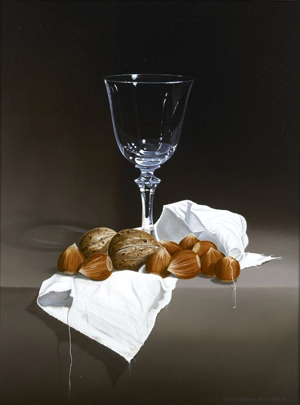 Schilderij stilleven - Guy de Jaegher - Wijnglas met hazelnoten - Olieverf op paneel - 40 x 30 cm. -