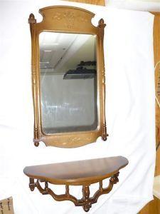 1966-Syroco-Sunburst-Brown-Framed-Mirror-Matching-Syroco-Wood-Shelf
