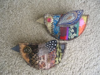 Fabric scrap brooches