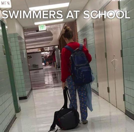 Basically your uniform when you go to class after practice: | Literally Just 28 Pictures That All Swimmers Will Find Hilarious