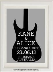 Electric Guitar Wedding Print by Bespoke Moments. Worldwide Shipping Available.