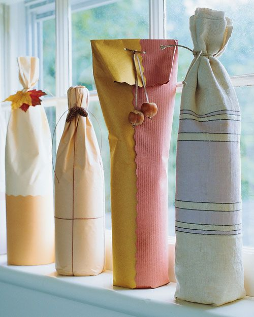 Bottle Wraps Martha Stewart Living: While a bottle of wine is an easy gift to give, it's often troublesome to wrap. The three ideas here begin with soft, flexible materials that conform to a bottle's contour. Begin with several sheets of tissue paper. Lay bottle so that paper extends 2 inches beyond bottom and at least 1 inch beyond top. Before wrapping the bottle, fold paper edges in to create neat outer seams. Roll the bottle, and secure with double-sided tape beneath the seam. Fold the…