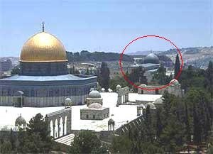 "AL-AQSHA mosque (in red circle) and AS-SAKHRA mosque (""The Dome of The Rock"") are NOT the same. Darussalam, Ūrsālim-Al-Quds • أورسالم القدس , Al-Quds, Bayt al-Maqdis Palestine"