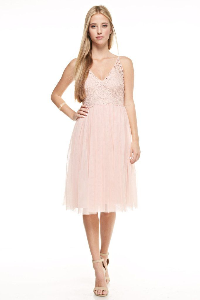Affordable short midi Navy and Blush tulle Bridesmaid Dress