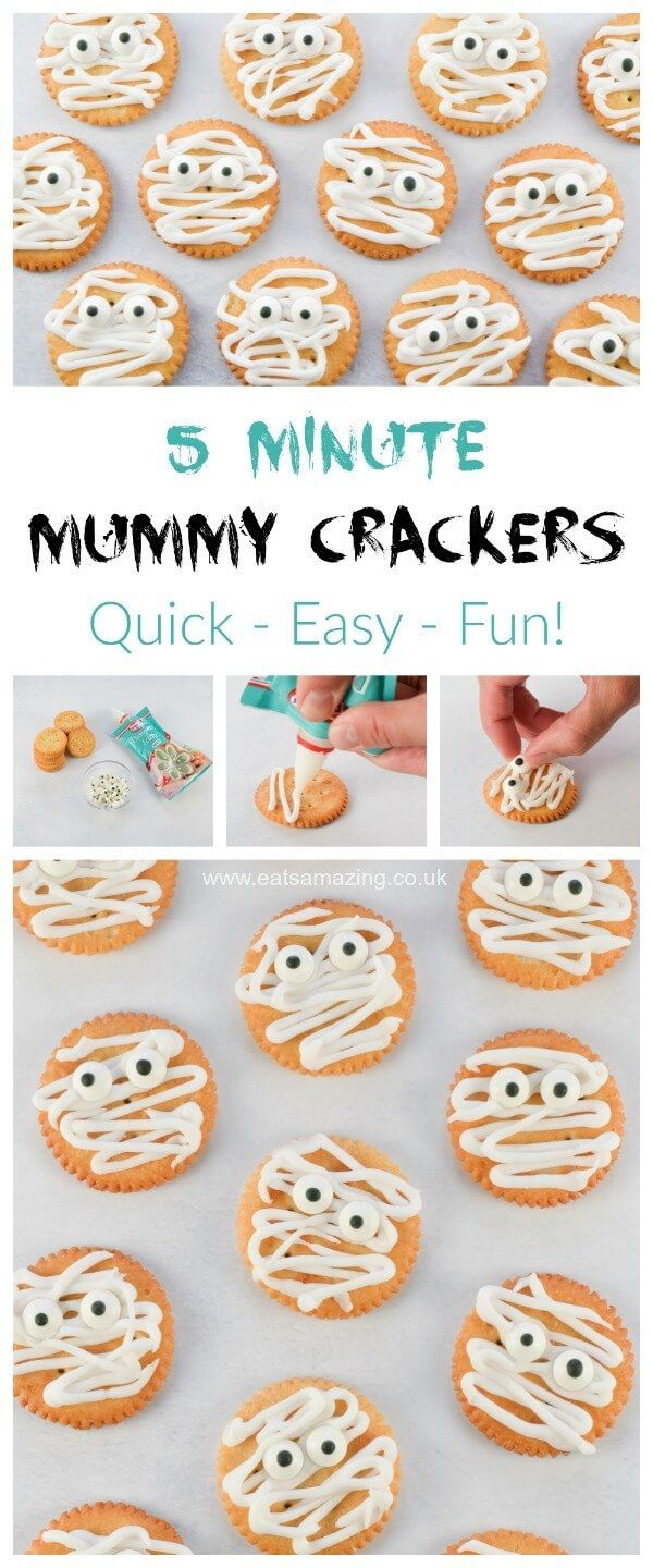 Mummy Ritz Crackers recipe - quick and easy fun Halloween food for kids - great Halloween party food from Eats Amazing UK #Halloween #kidsfood #funfood #partyfood #easyrecipe #foodart