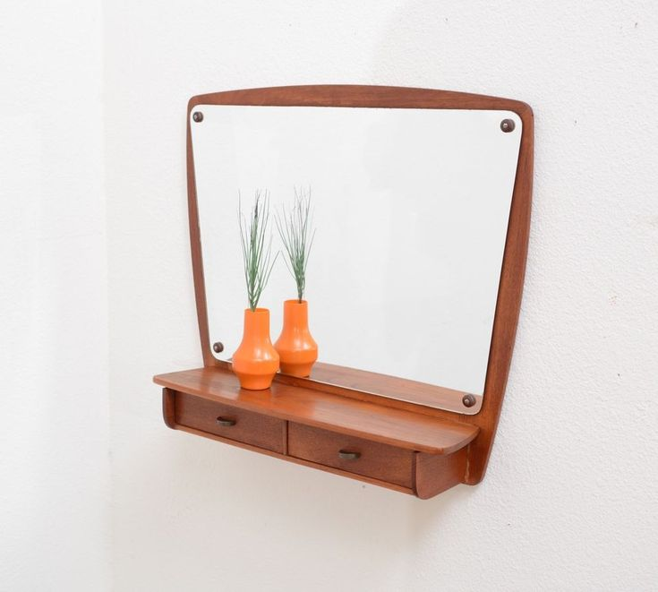 1950s Danish Modern Vintage TEAK Entry Wall Mirror Shelf w Drawer Mid Century #DanishModern
