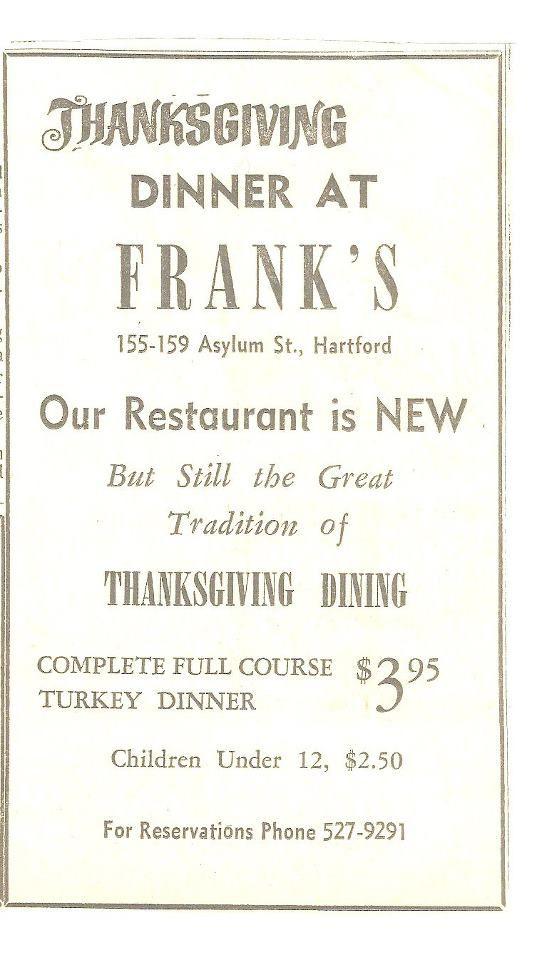 FRANK'S RESTAURANT AD, UNDATED