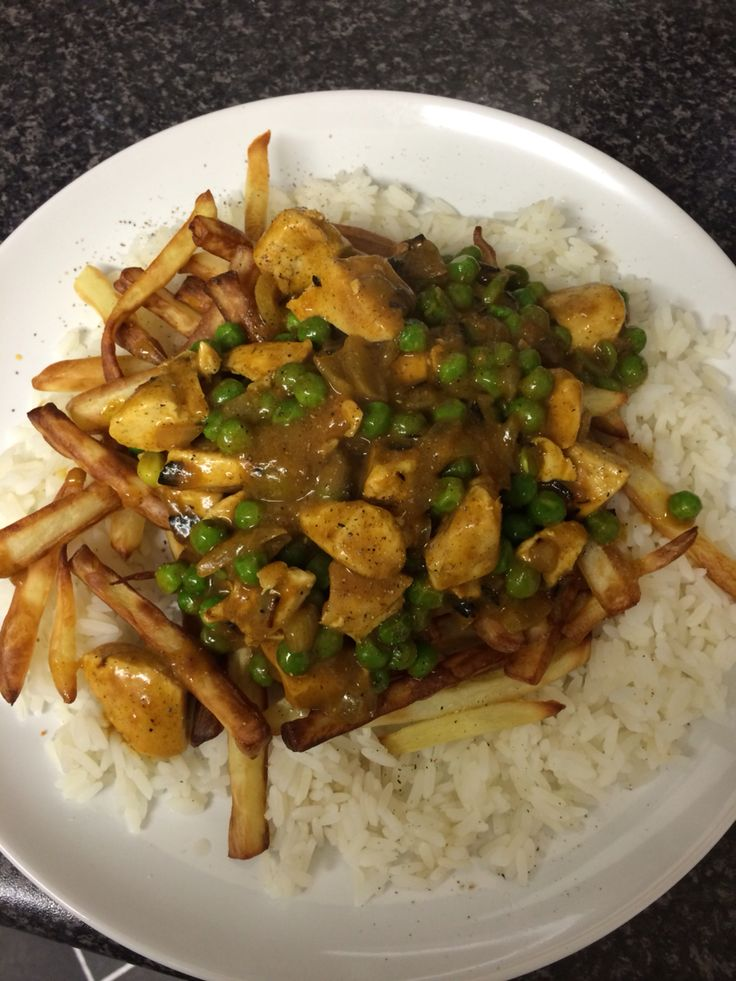 Mayflower Chinese chicken curry , rice & chips   Slimming ...