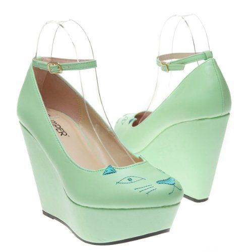 Mint Sorbet Cat Platform Shoes $35 #shoes #wedges #womanstyle @kittypurring
