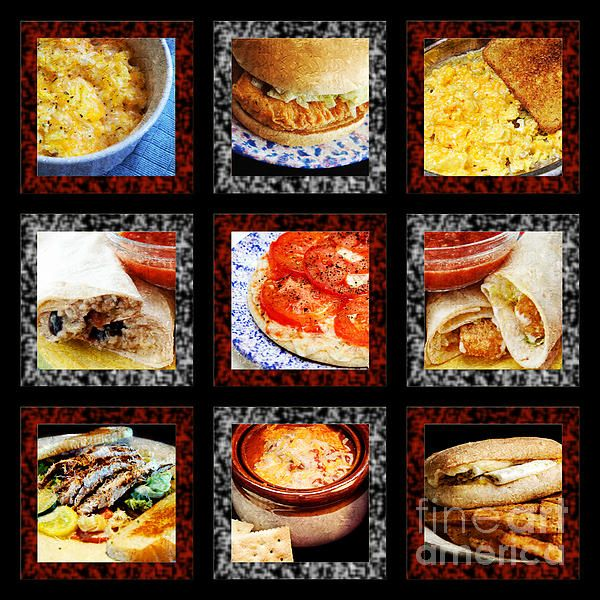 B L D Dining 1 Tic Tac Toe   A painterly texture is applied to all food items.   Represents a combo of Breakfast B, Lunch L, and Dinner D, items.   Check out my galleries for more of my Tic Tac Toe series art   FAA WATERMARK IS NOT ON FINAL PRINT... IT IS FOR WEB USE ONLY