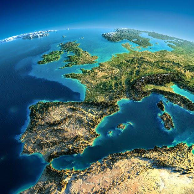 Western Europe - Fascinating Relief Maps Show The World's Mountain Ranges
