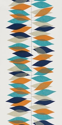 Miro in teal/orange by Sanderson (via design*sponge http://www.designspongeonline.com/2011/03/50s-wallpaper-by-sanderson.html)