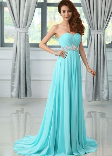 107.54 USD Blue Chiffon Sweetheart Beadings Prom Dresses 2016, Formal