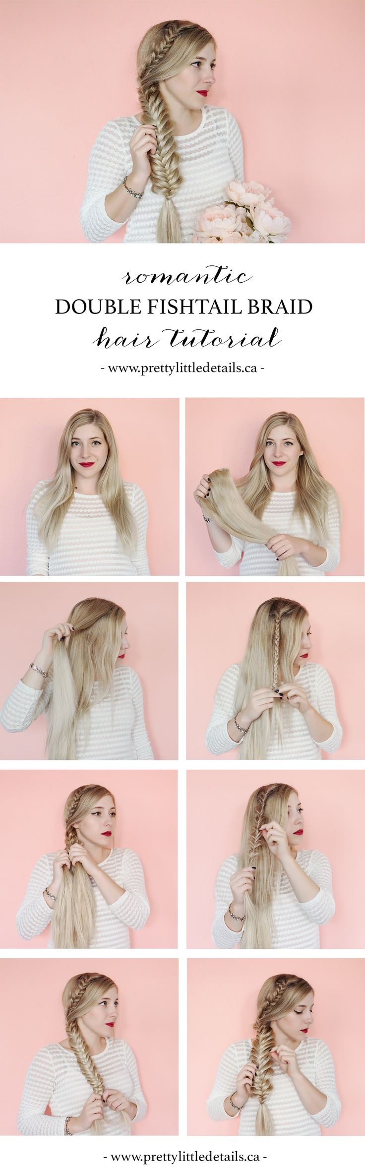 Romantic double fishtail braid // boho braided hair tutorial.