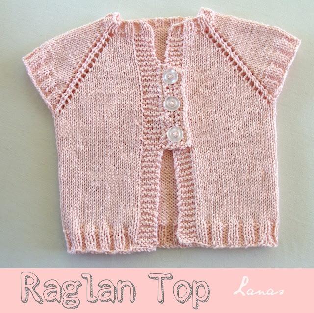 Raglan Top in pink cotton (12-18 m) by Lanas Hilos