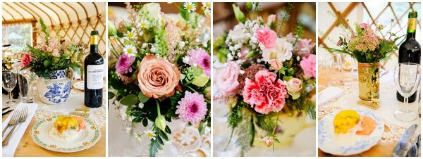 Yurt Wedding - Table Styling - Wedding Flowers - Wedding Photographer Ross Holkham
