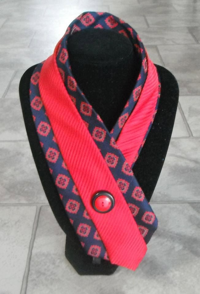 Navy and red upcycled tie necklace with buttons to enhance this unique one of a kind design..  via Etsy.