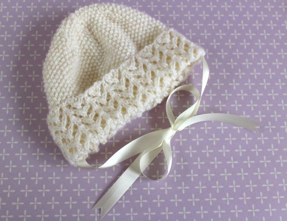 Ivory Baby Bonnet Ivory Baby Hat Traditional Baby by Pinknitting