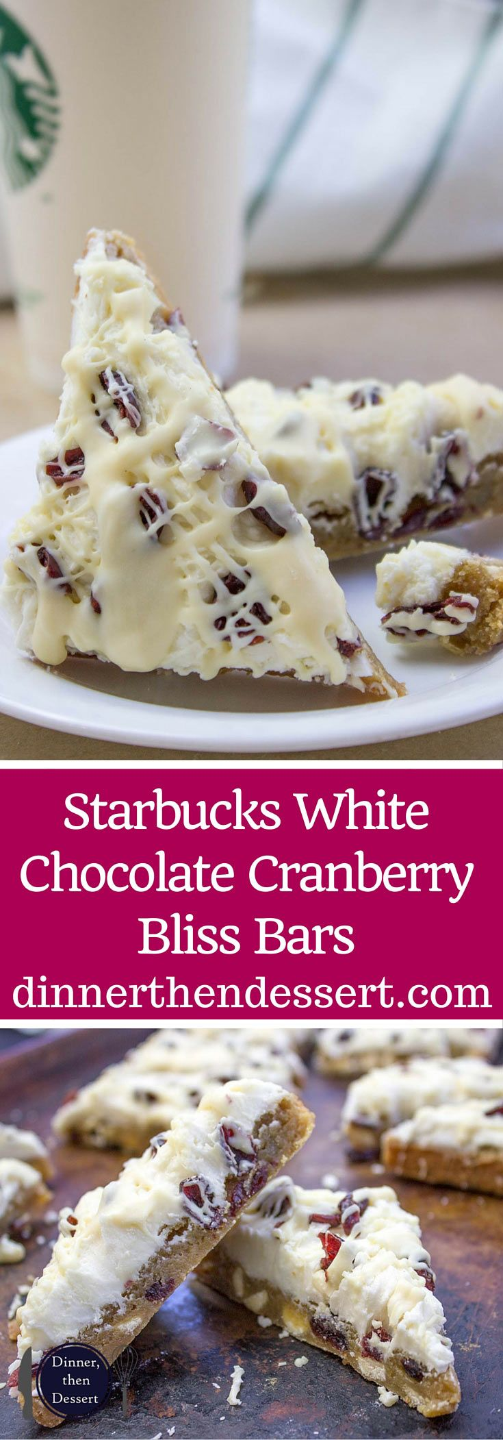Starbucks White Chocolate Cranberry Bliss Bars are a delicious blondie cookie bar with white chocolate topped with sweet cream cheese icing, tart dried cranberries, and a sweet white chocolate orange drizzle.