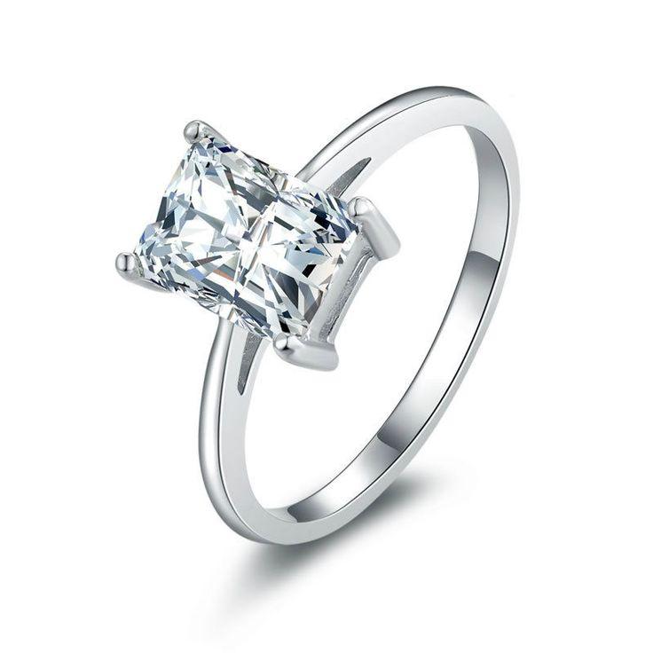 Graceful Women Birthday Gift Retangular Zircon Decorated 925 Sterling Silver Statement Ring
