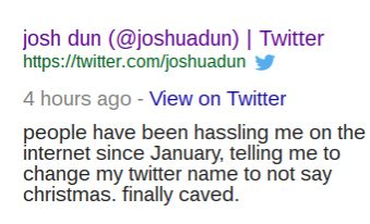 "I didn't think 2016 could get any worse but then i saw that spooky jim christmas changed his name to josh dun :( worse day ever<< josh can do what he wants, don't ""hassle"" him"