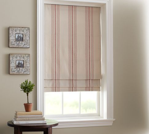 French Stripe Cordless Roman Shade | Pottery Barn - not Red, Espresso