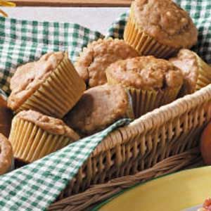 Peanut Butter Oat Muffins Recipe - my variation, no sugar, blend one apple with wet ingredients, stir in one finely chopped apple and good couple of handfuls of raisins at end, used Wholemeal flour, may need slightly more as extra apple makes mix wetter but largely compensated for my Wholemeal flour. Also used cream tartar / bicarbonate mix in place of baking powder