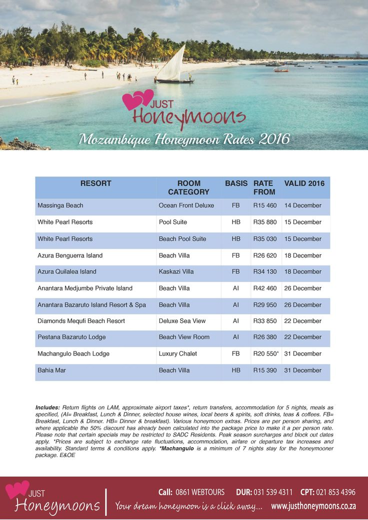 Mozambique 2016 Island specials for honeymooners from South Afica